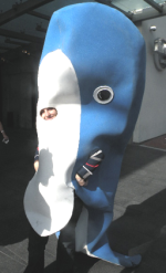 Man dressed in a whale costume