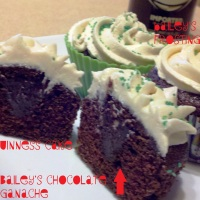 Murphy's Chocolate Cupcakes with Dark Chocolate Ganache & Bailey's Buttercream Frosting