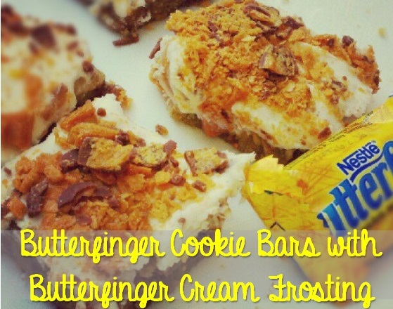 butterfinger cookie bars and butterfinger cream frosting
