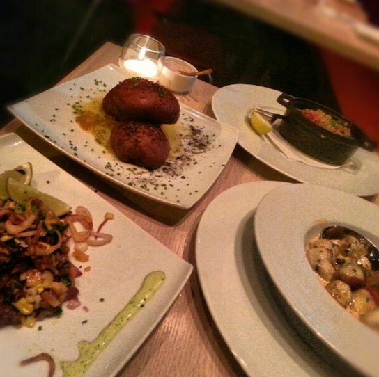 Escargot, beef ceviche, seafood dumplings and fois gras doughnuts @ Cowell & Hubbard