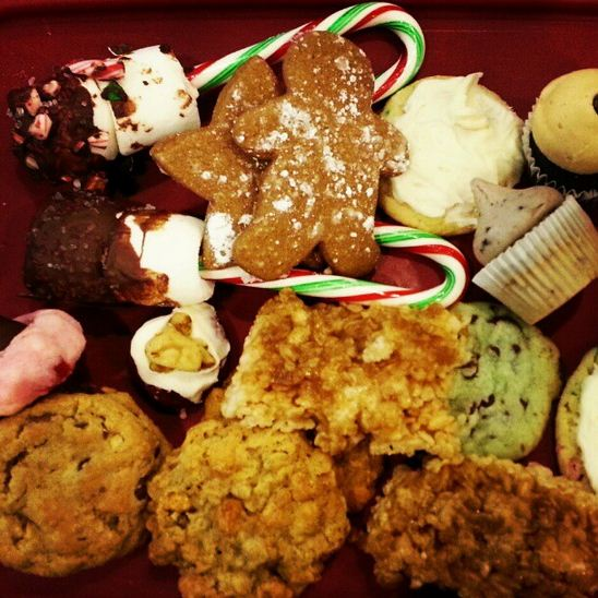 Some of the holiday cookies we baked for our office potluck/cookie exchange party