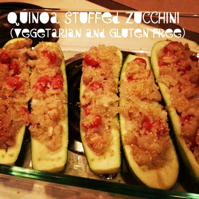quinoa stuffed zucchini (gluten free and vegetarian)