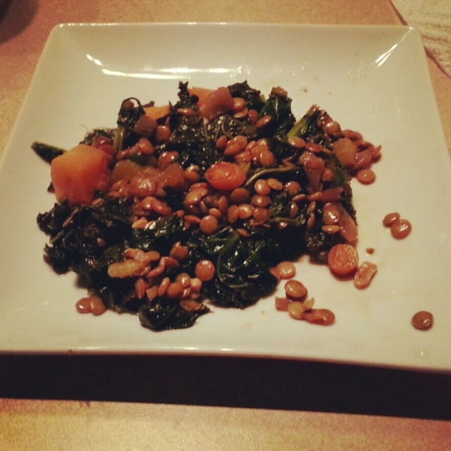 Spicy Kale with Lentils and Sweet Potato