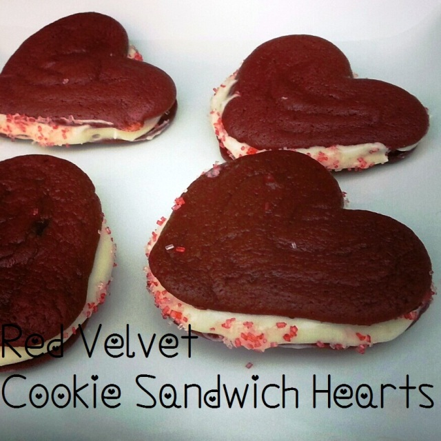 Red Velvet Valentine Heart Cookie Sandwiches