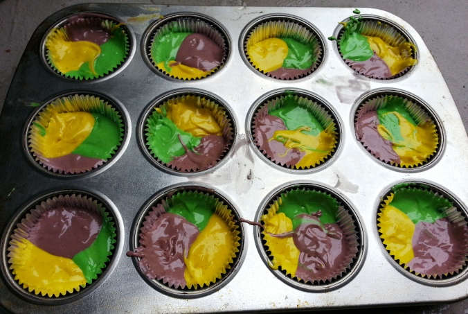 mardi gras cupcakes fat tuesday cupcakes batter in the tins