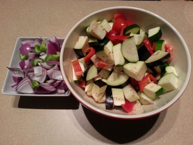 chopped veggies for vegetarian eggplant, potato and pepper stew