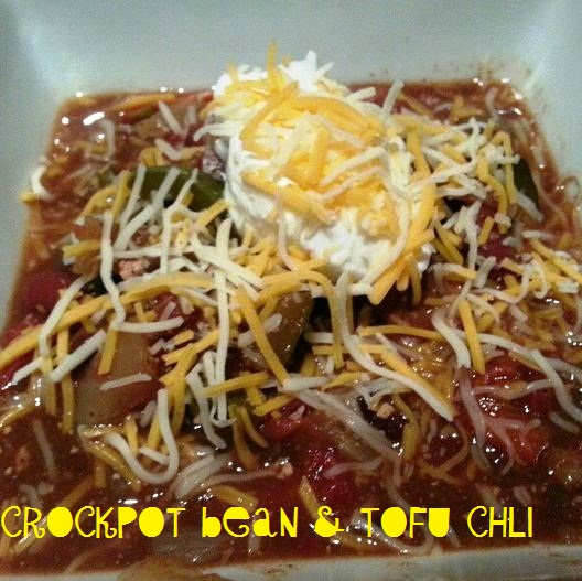 Last week's dinner = this week's lunch (crock pot tofu and bean chili)