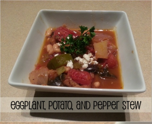 vegetarian eggplant, potato and pepper stew labeled