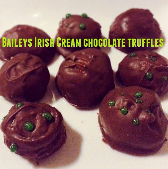 homemade baileys irish cream chocolate truffles for st. patrick's day
