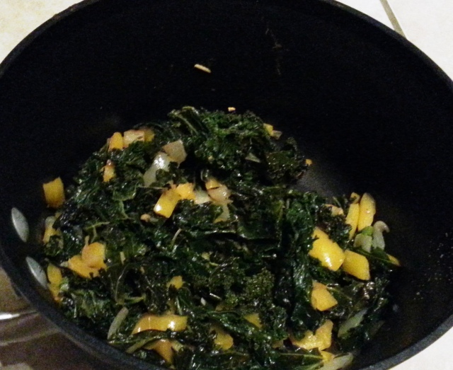 spicy kale with peppers and onions