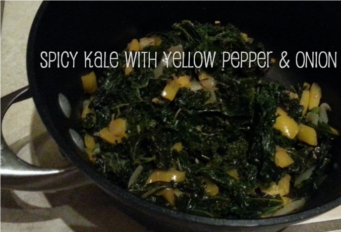 spicy kale with yellow pepper and onion