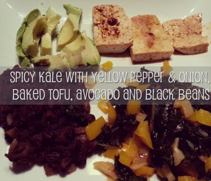 SPICY KALE WITH yellow pepper & onion, baked tofu, avocado and black beans