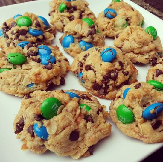 M&M Butterfinger Monster cookies for donate Life Blue and Green Day