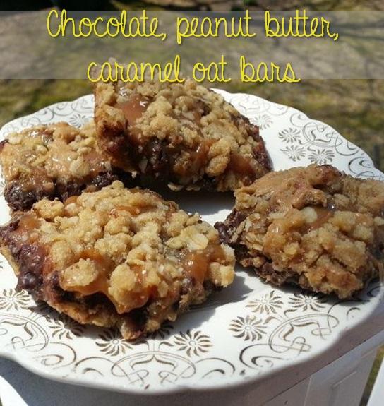 chocolate peanut butter oatmeal caramel cookie bars