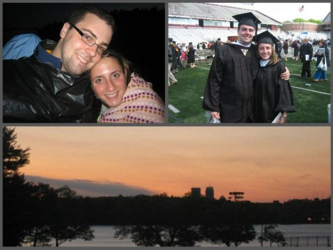 Look, I dug up old photos for you. B and me waiting for the sun to rise with other grads, on graduation day, and my photo of the sun rise from BC campus.