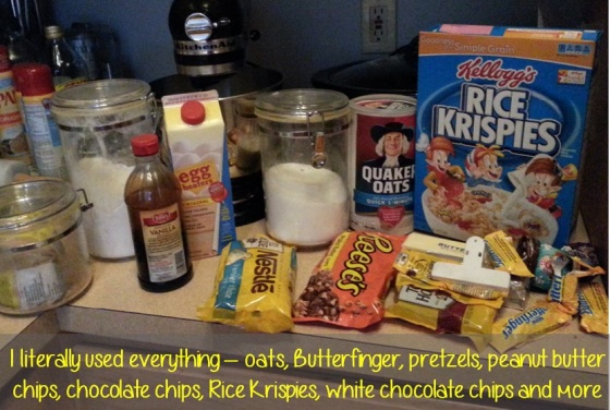 everything in my pantry cookies -cookies with white chocolate, chocolate, pretzels, oats, rice krispies and more