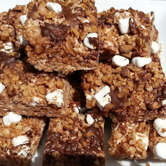 heath bar toffee nutella rice krispee treats 1