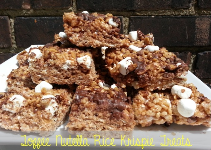 heath bar toffee nutella rice krispee treats