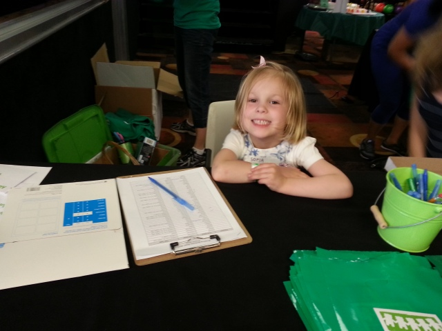 My helper at the check-in table!