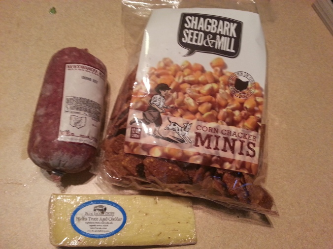 "closeup of B's favorites - the cheese, corn chips (""crackers"") and ground beef"