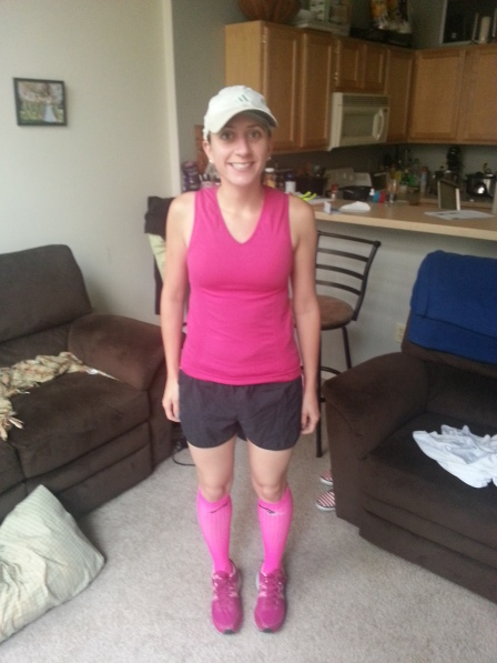 B and I went for a run. Yes he went for a run with me looking like this. Bless his soul - it was hot out and I was wearing waaay too much pink.