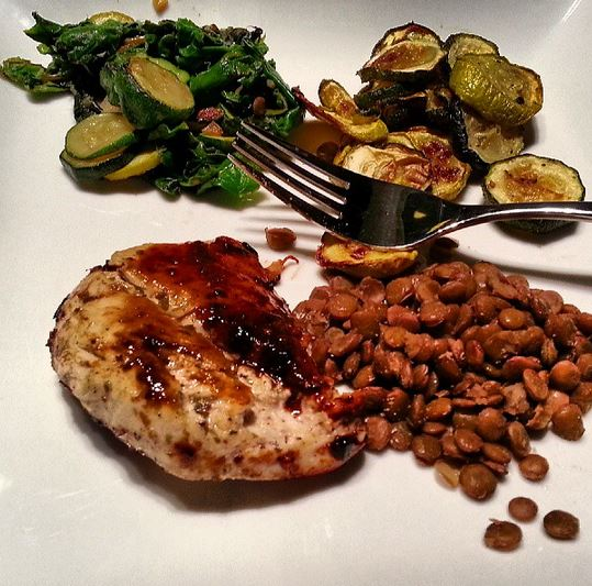 Chicken, zucchini, swiss chard and lentils