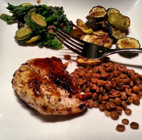 Chicken, zucchini, swiss chard and lentils