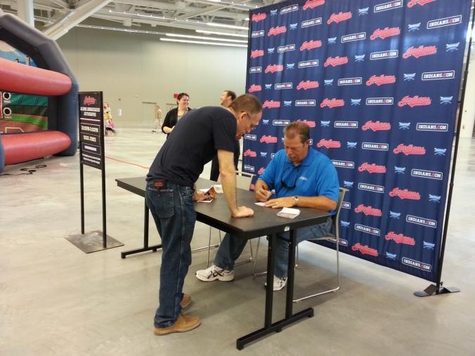 Dad getting an autograph from former pitcher Doug Jones