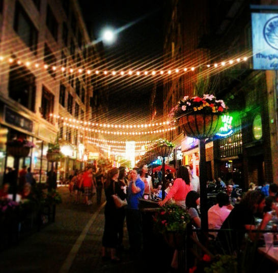 We had drinks and dinner on the patio on East Fourth (I love this street at night)