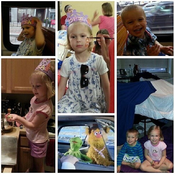 Some of the awesome ways we spent our night -  face paint, trolley rides, baking cookies, Muppet movies and fort making!