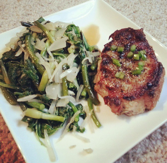 fresh fork pork, mustard greens and garlic scapes