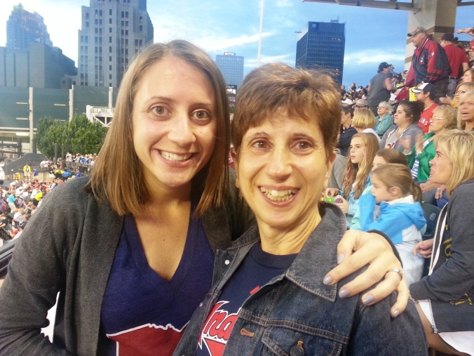 mom and me at game