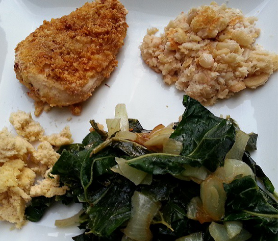 oven fried chicken white beans collard greens