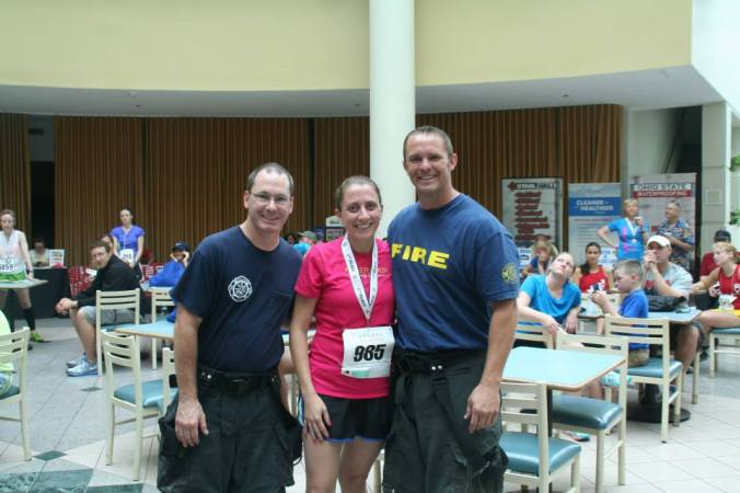 The firefighters gave me my 3rd place medal and then posed for a photo. Yup :)
