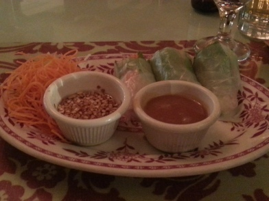Yum. Appetizer at the King and Thai (spring rolls before my eggplant came out)