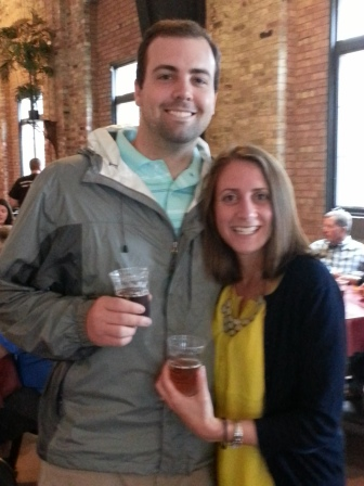 drinks before the brewery tour. slightly blurry, but the only picture someone took of the two of us!