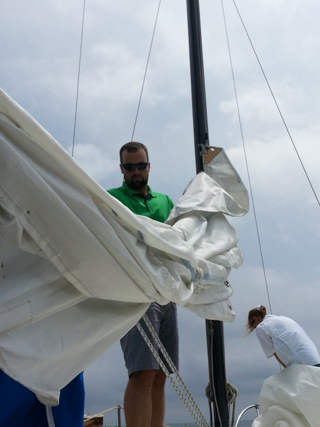 B then got a quick sailing lesson! Sadly (for the boat) there wasn't too much wind.