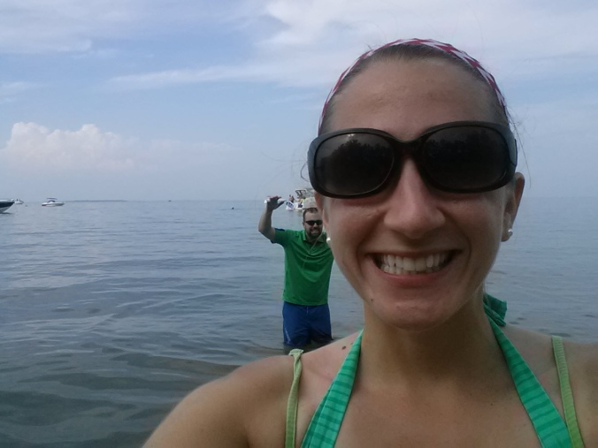 After sailing we went to the beach. I went swimming in the Lake for a while and caught some late-afternoon rays. Yes, I take selfies. But B goofs off in the background so technically it's not a real selfie right?