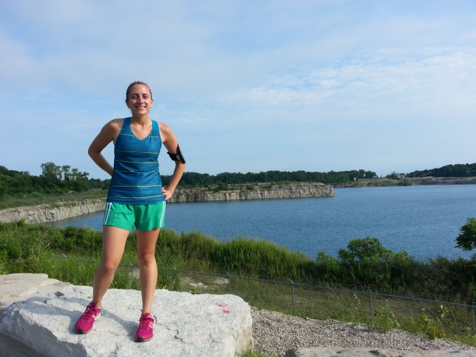 Of course I made B take a picture of me during the run. It seems to me that I wear that shirt running a lot. That's me in front of one of the many the Kelleys Island quarries.