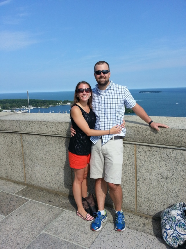 We had someone take a pic of both of us at the top of the monument. The sky and water was so blue!