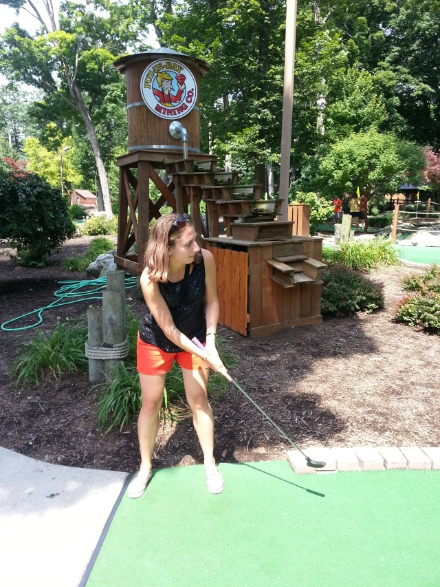 We sweated a little playing mini golf at Perry's Family Fun Center