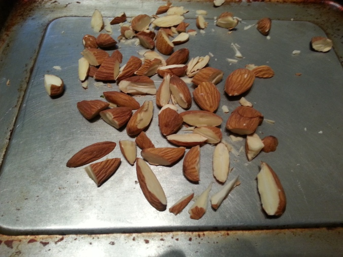 Finely chop the almonds and toast for 5-10 minutes at 350.