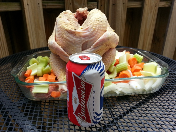 The chicken and the beer can meet ... it gets more awkward. (Yes, I have red/white/blue Bud cans)