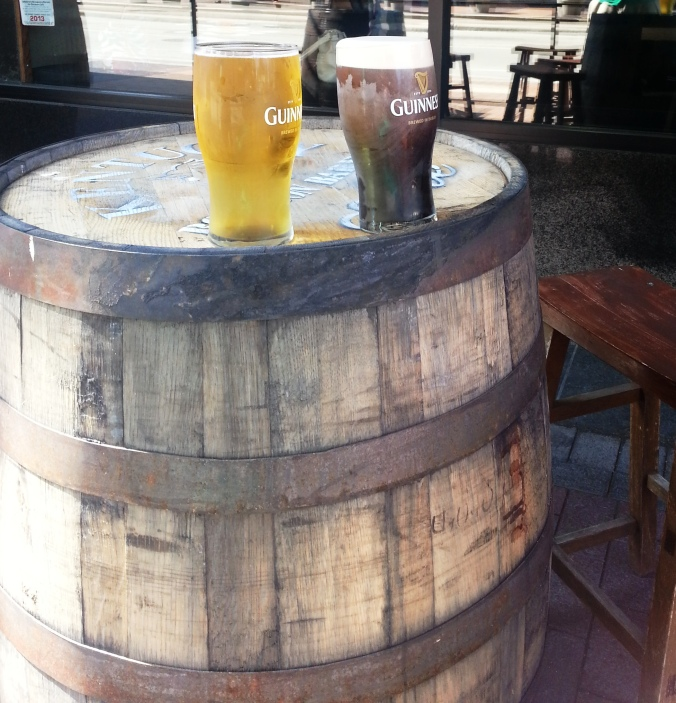 Patio Drinks @ Parnell's Pub Downtown - Barrels as tables!