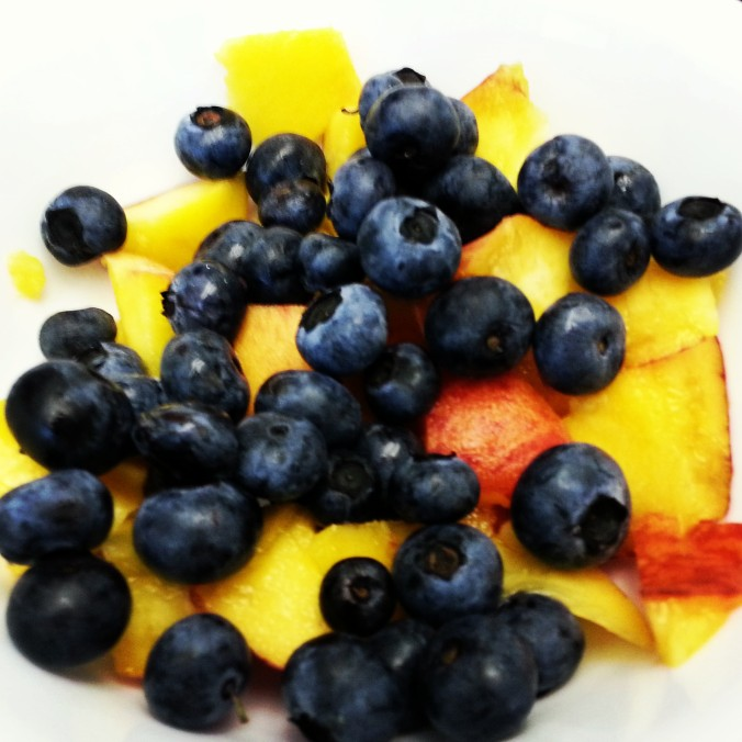 Perfect snack - blueberries and peaches!