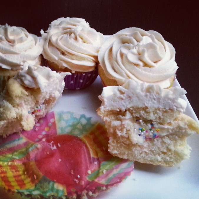 sugar cookie dough filled vanilla cupcakes {i crashed the web}