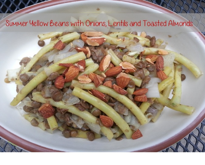 Summer Yellow Beans with Onions Lentils and Toasted Almonds ~ I Crashed The Web