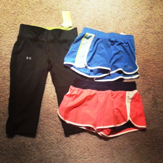 NEW running clothes! 2 pairs of shorts and a pair of capris.