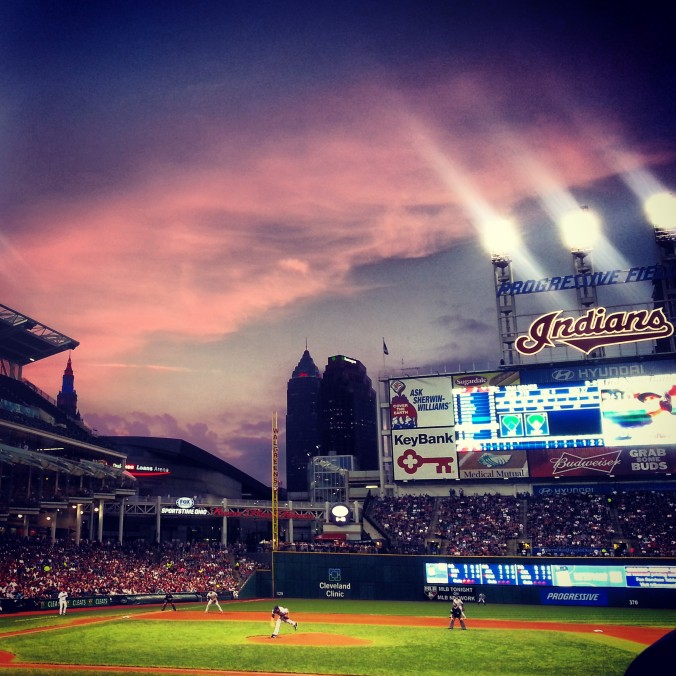 B and I enjoyed an Indians game. fourth row seats ... but caught a loss. But a gorgeous night!