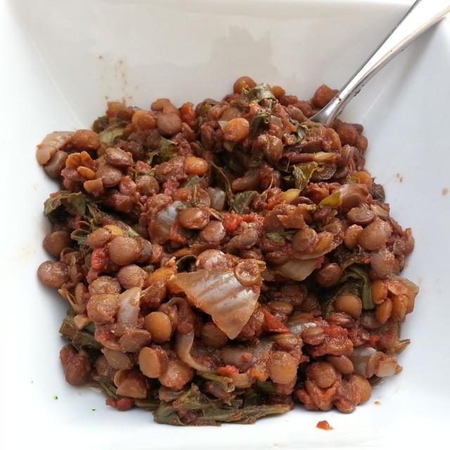 slow cooker lentils and kale - i crashed the web